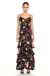 Marchesa Notte Printed Sleeveless Crepe De Chine Ruffle Tiered Maxi