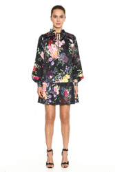 Marchesa Notte Printed Long Bishop Sleeve Stretch Charmeuse Mini