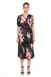 Marchesa Notte Printed Puff Sleeve V-Neck Pleated Stretch Georgette Wrap Midi
