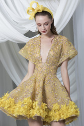 Tony Ward Look 21: Gold A-line Cocktail Dress