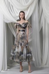 Tony Ward Look 20: Midi A-Lined Off-Shoulder Dress