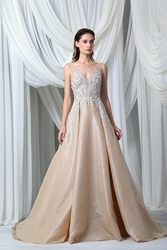 Tony Ward Look 16: Gold Silk Organza Cloquée Dress