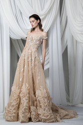 Tony Ward Look 12: Off-Shoulder Golden Gown