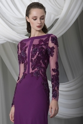 Tony Ward Look 9: Crêpe Marocain Fitted Plum Dress