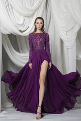 Tony Ward Look 7: Georgette Flowing Plum Skirt