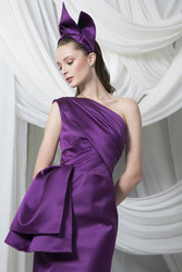 Tony Ward Look 6: Plum Satin Duchesse Midi Gown