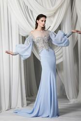 Tony Ward Look 1: Sky Blue fitted Silk Crêpe Marocain Dress