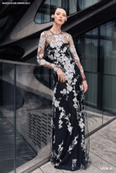 Naeem Khan Black/White Floral Lace Gown