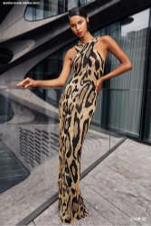 Naeem Khan Black/Gold Leopard Gown