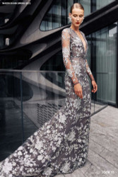 Naeem Khan Silver Lace Gown
