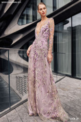 Naeem Khan Lilac Floral Gown