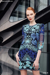 Naeem Khan Blue Multi Embroidered Dress