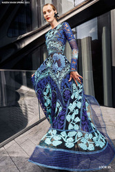 Naeem Khan Blue Multi Embroidered Gown