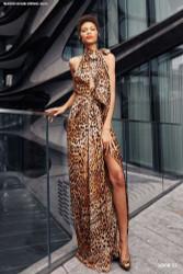 Naeem Khan Leopard Halter Gown