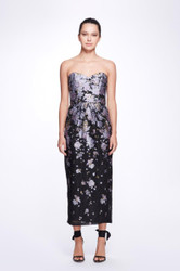 Marchesa Notte Strapless Sweetheart Neck multicolor Ankle-Length Gown