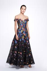 Marchesa Notte Off the Shoulder Multicolor Filscoupé Gown