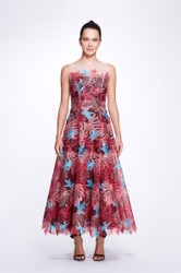 Marchesa Notte Sleeveless Multicolor Guipure A-Line Tea-Length Gown
