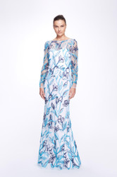 Marchesa Notte Long Sleeve Boatneck Multicolor Tulle Gown