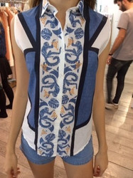 Paul and Joe Blue and White Patterned Blouse