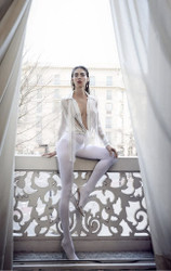 Yolan Cris White Blouse Embroidered With Golden Thread and Rhinestones