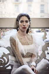 Yolan Cris White Tulle Blouse With Gold Embroidery