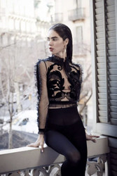 Yolan Cris Tulle and Black Velvet See-Through Blouse