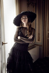 Yolan Cris Black Embroidered Tulle Long Sleeve Dress