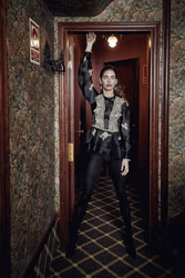 Yolan Cris Peplum Blouse in Black Tulle With Gold Embroidery