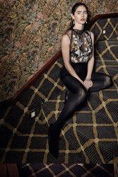 Yolan Cris Black Blouse With White and Gold Flower Embroidery