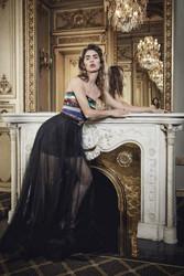 Yolan Cris Sequin Strapless Dress and Tulle Skirt