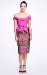 Marchesa Floral Taffeta Peplum Dress