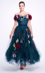 Marchesa Floral-Embroidered Tulle Gown