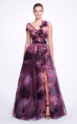 Marchesa Printed Tulle High-Slit Gown