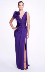 Marchesa Ruffle-Trimmed Silk Gown