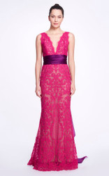 Marchesa Bow-Detailed Lace Gown