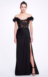 Marchesa Beaded Off-The-Shoulder Satin Gown