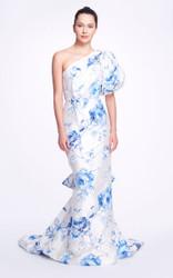 Marchesa Floral Crepe De Chine One- Shoulder Gown