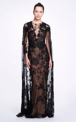 Marchesa Floral-Embellished Tulle Cape Gown