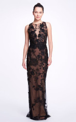 Marchesa Floral-Embellished Tulle Gown