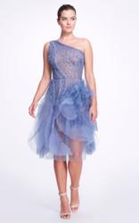 Marchesa Asymmetric Embellished Tulle Dress