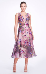 Marchesa Embellished Silk Midi Dress