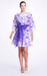 Marchesa Appliqued Crepe Mini Dress