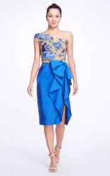Marchesa Asymmetric Floral Silk Dress