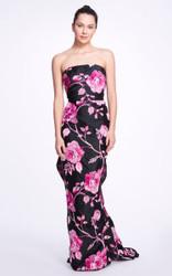 Marchesa Floral-Printed Crepe De Chine Gown