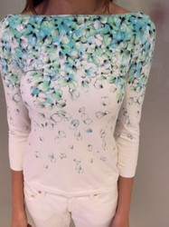 Blumarine White Long Sleeve Blouse With Green Floral Pattern