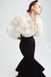 Yolancris Silk Organza Blouse and Velvet Skirt