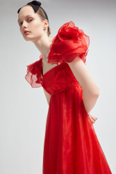 Yolancris Silk Embroidered Organza Red Dress