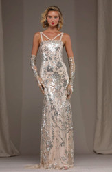 Naeem Khan Floral Embroidered Gown w/Straps