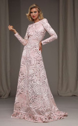 Naeem Khan Ribbon Embroidered Long Sleeve Gown