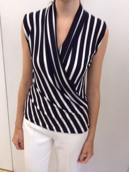 ca7e1d35c15981 Rena Lange Sleeveless Black and White Vertical Striped Blouse ...